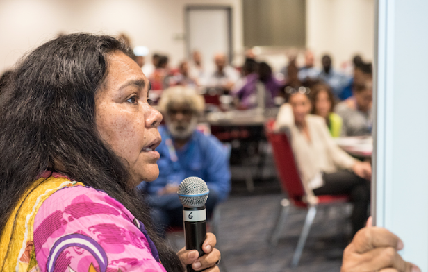 A woman speaking at the First Nations Regional Dialogue in Darwin